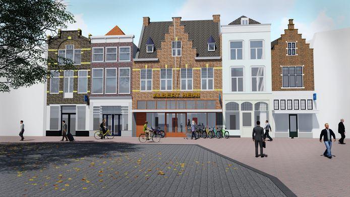 Artist's impression van de verbouwde aanblik van het Albert Heijn-pand aan de Markt in Gouda.
