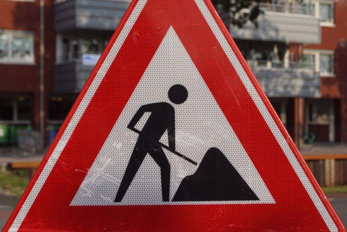 Online geplaatst en betaald - Een verkeersbord voor bouwwerkzaamheden.