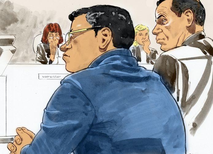 Rechtbanktekening van een eerdere zitting met Richard R., beter bekend als Rico de Chileen.