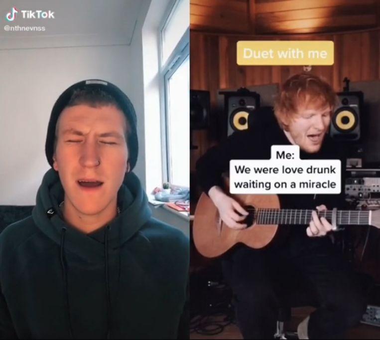 Het filmpje van Schotse postbode Nathan Evans leverde hem een duet op met Ed Sheeran. Beeld TikTok