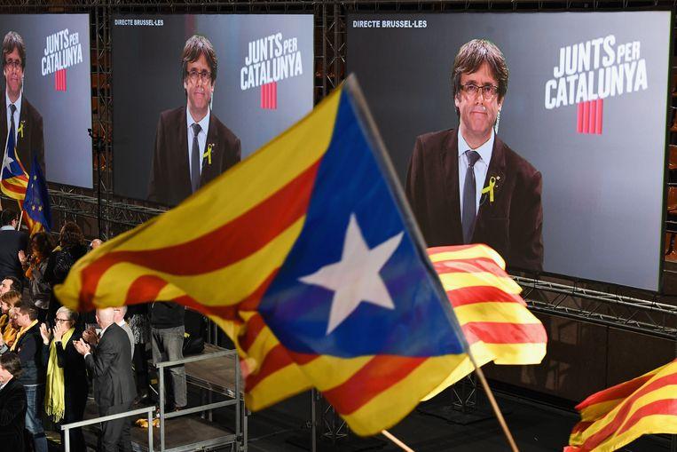 De afgezette premier Puigdemont op een verkiezingsmeeting vanuit Brussel. Beeld Getty Images