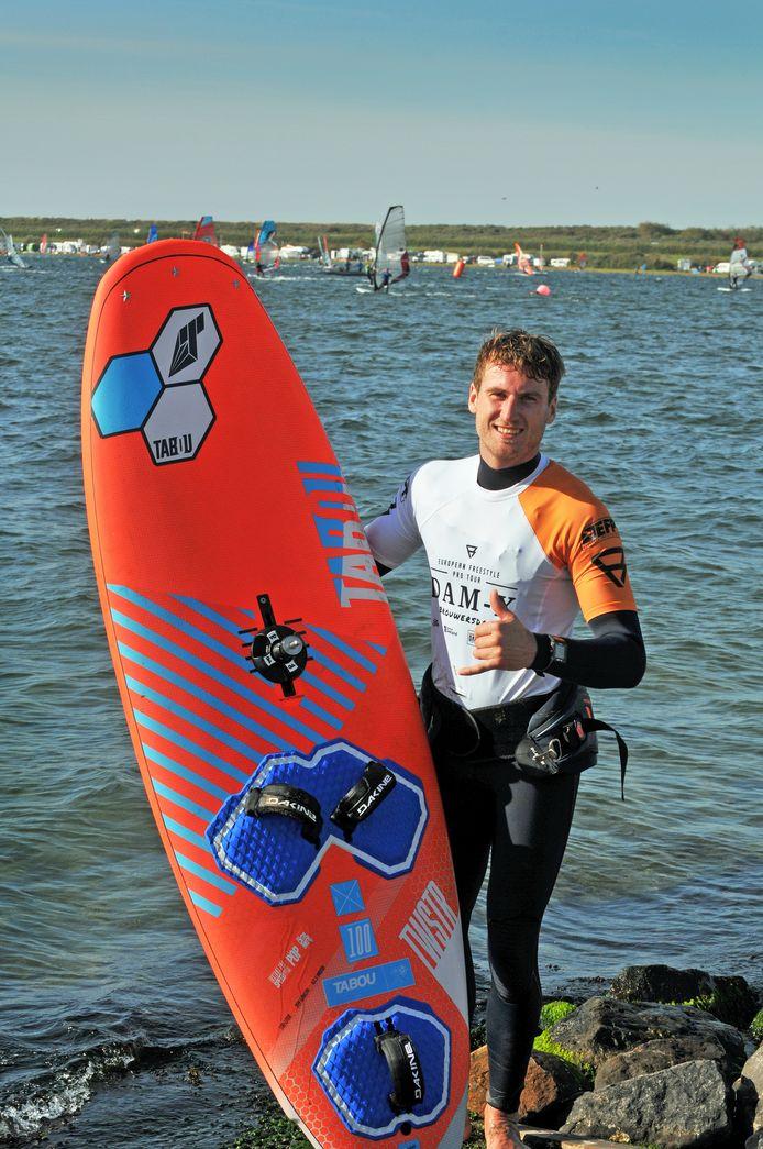Davy Scheffers in 2018 bij het Grevelingenmeer, waar hij het evenement Dam-X won.