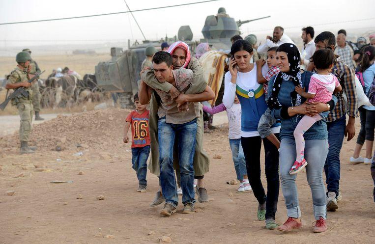 Syrische vluchtelingen in Turkije.  Beeld Reuters