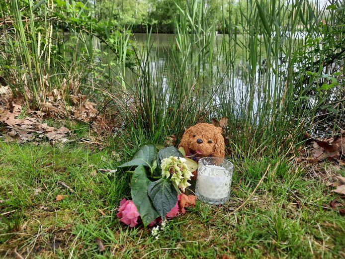 Bij het monumentje zijn knuffels neergelegd.