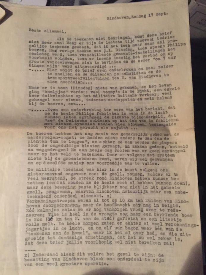 De brief die Piet Bouma schreef aan zijn moeder en twee zussen in Hilversum. Zijn handschrift was door zijn ziekte MS niet meer goed, daarom typte hij zijn brief.