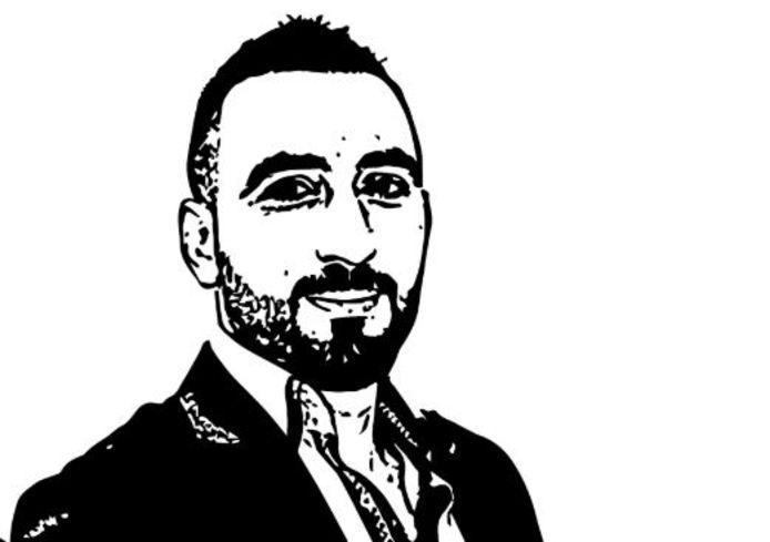 De tekening van Murat Memis die de voorstanders van zijn vrijlating gebruiken bij het manifest.