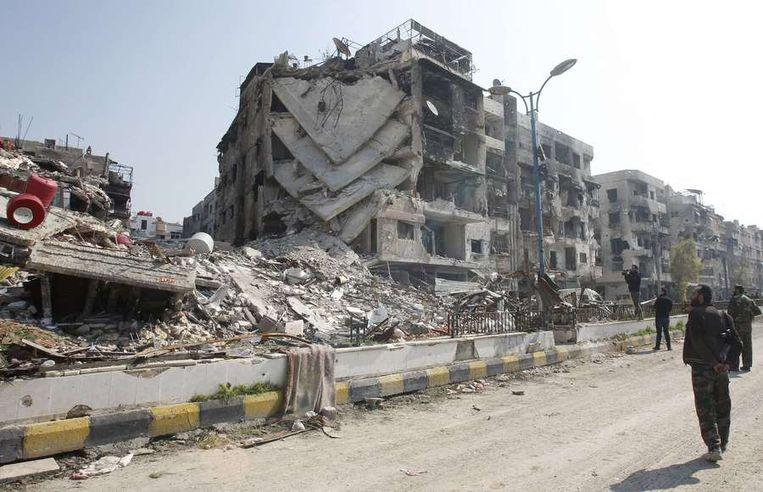 Verwoestingen in Damascus inspireren tot voorspellingen over de eindtijd. Beeld reuters