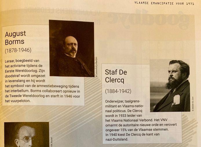 Photo de la page où les deux collaborateurs sont présentés comme des figures de proue du combat flamand