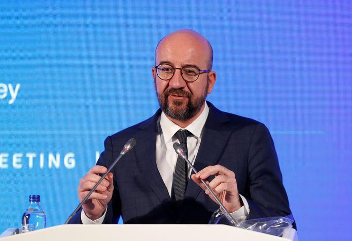 Charles Michel en conférence de presse à Ankara, le 6 avril 2021.