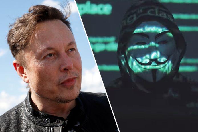 Links Tesla-CEO Elon Musk en rechts een stil beeld uit de video van hackerscollectief Anonymous.
