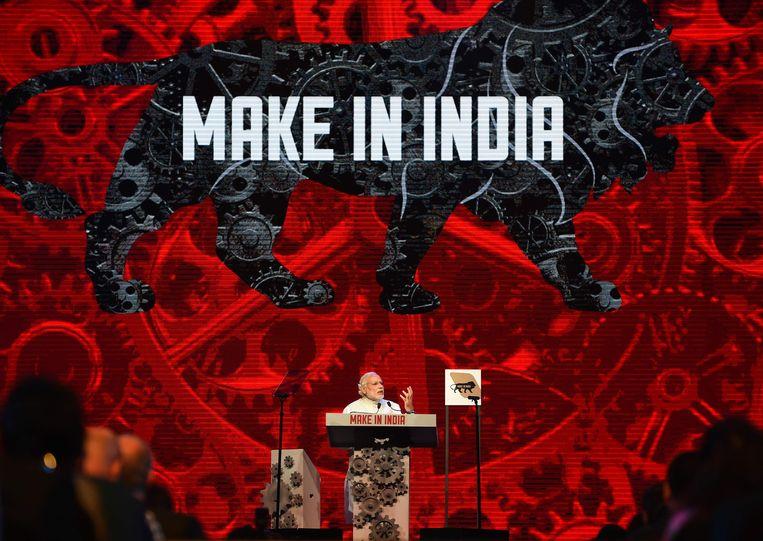Premier Modi lanceerde in 2016 een promotiecampagne voor de Indiase industrie. Beeld AFP