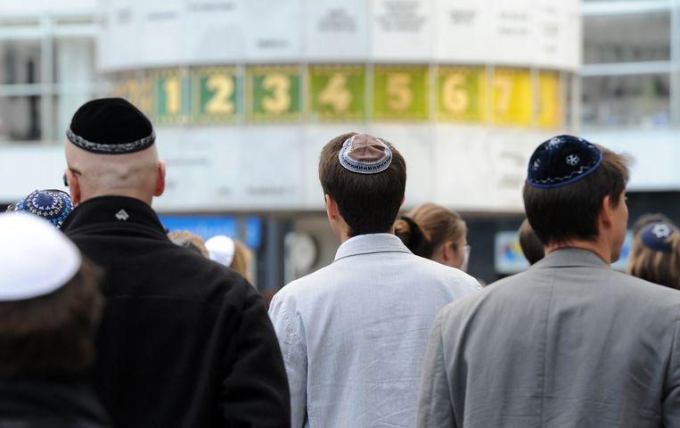 Demonstratie in Berlijn tegen het toenemende antisemitisme. Beeld AFP