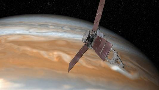 Een schets die NASA liet maken van Juno bij Jupiter.