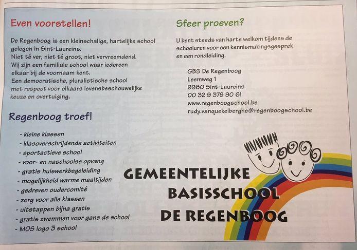 De advertentie in Rondje West waarmee de Vlaamse basisscholen leerlingen werft.
