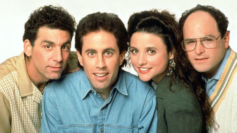 De vier hoofdrolspelers uit de sitcom Seinfeld. Van links af: Michael Richards (Kramer), Jerry Seinfeld (Jerry Seinfeld), Julia Louis-Dreyfus (Elaine) en Jason Alexander (George). Beeld Kippa