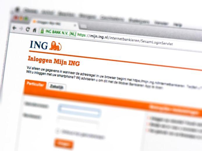 Inlogpagina van de ING Bank voor internetbankieren.