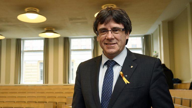 Puigdemont tijdens zijn bezoek aan Helsinki eerder deze week Beeld ap