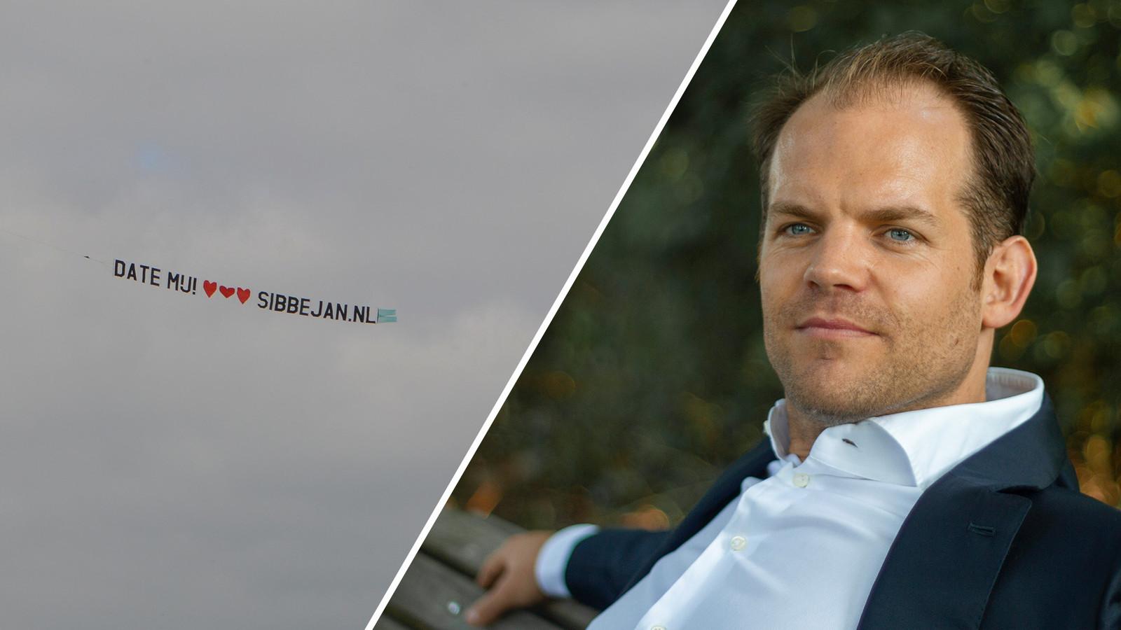 Vrijgezel Sibbe Jan Noppert (34) liet een reclamevliegtuigje boven het land vliegen met: 'Date mij!' en drie hartjes.