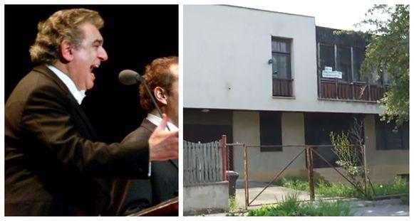 De Spaanse tenor Placido Domingo, foto uit 1994. Foto rechts: het bewuste huis in de Slovaakse gemeente Sturovo.
