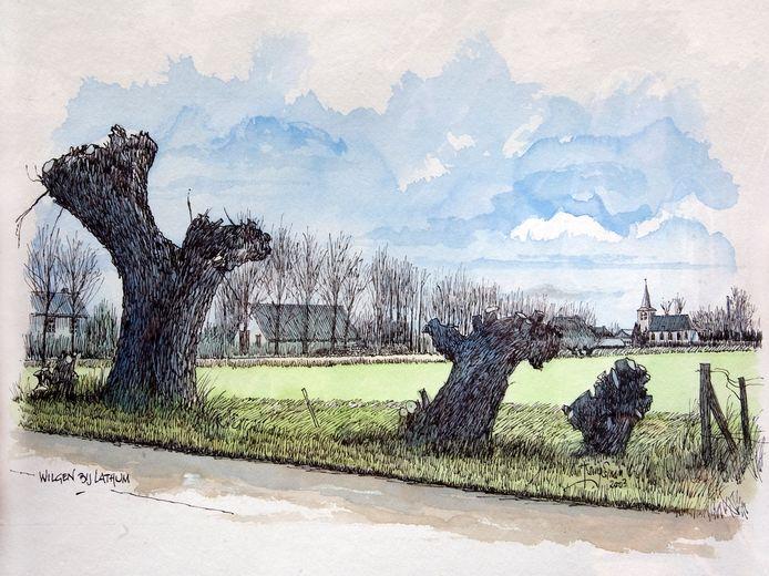 LATHUM/WESTERVOORT  Zicht op Lathum en de Lathumse kerk. Een aquarel van Harrie Kemperman uit Westervoort.