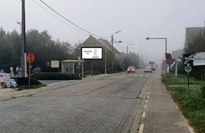 Voorbeeld van een digitaal infobord in Haacht dat recent werd geïnstalleerd.
