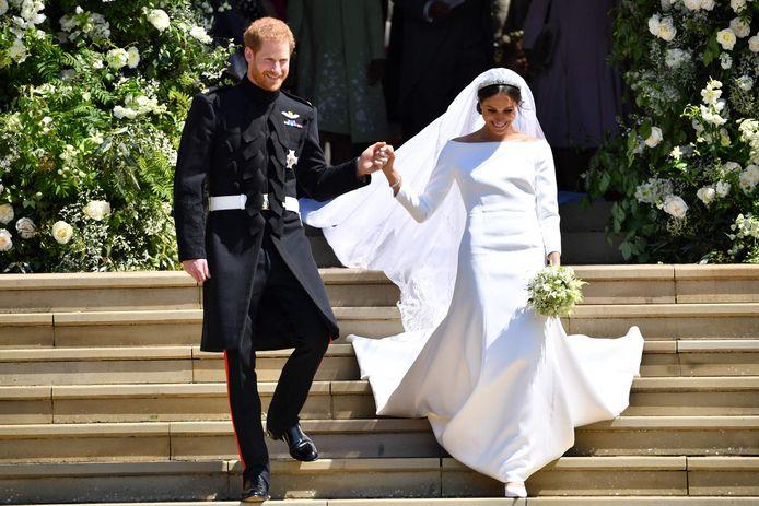Harry en Meghan op hun echte trouwdag.