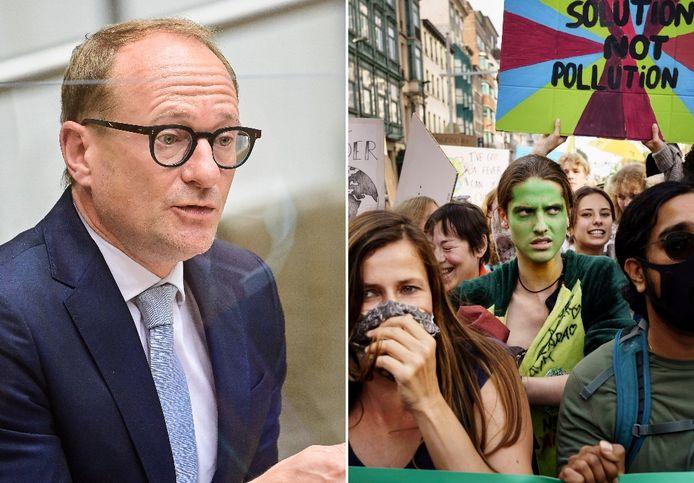 Links: minister Ben Weyts. Rechts: Klimaatmars Brussel