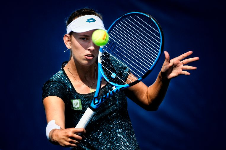 Belgian Elise Mertens pictured in action during a tennis match between Belarusian Vera Lapko (WTA 72) and Belgian Elise Mertens (WTA 15), in the second round of the women's singles at the 118th US Open Grand Slam tennis tournament, at Flushing Meadow, in New York City, USA, Wednesday 29 August 2018. BELGA PHOTO YORICK JANSENS Beeld BELGA