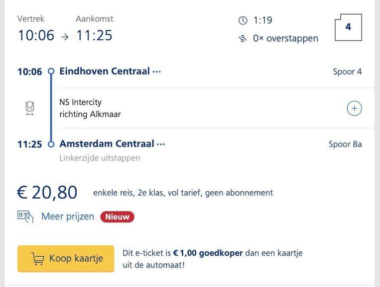 Een enkeltje van Eindhoven Centraal naar Amsterdam Centraal kost 20,80 euro. Beeld Eric Mahieu