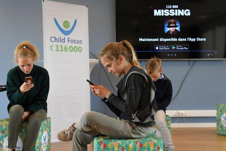 Voorstelling van de game 'Missing' van Child Focus. Beeld Photo News