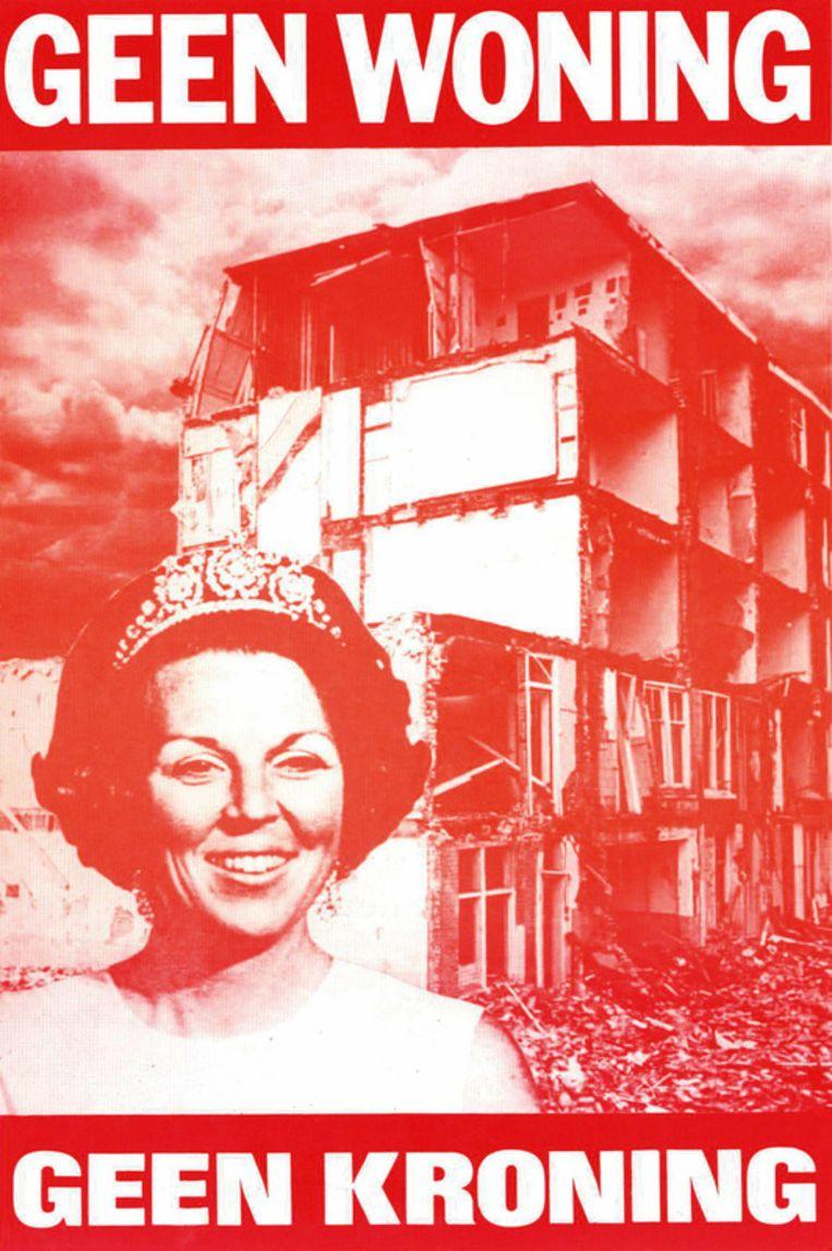 Affiche 'Geen woning , geen kroning.' 1980 Beeld