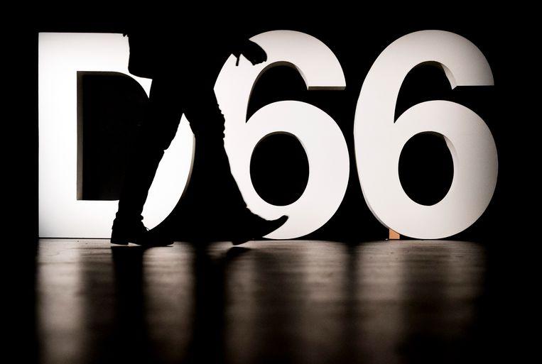 Logo van D66 op het 109de partijcongres. Beeld ANP