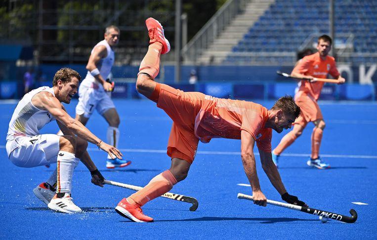 De hockeymannen tijdens de wedstrijd tegen België. Beeld AFP