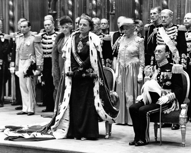 De inhuldiging van koningin Juliana op 6 september 1948 in de Nieuwe kerk te Amsterdam.  Beeld ANP