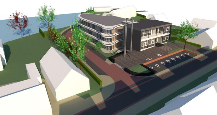 Het voormalige gemeentehuis van Heerjansdam wordt voorzien van een grote aanbouw om ruimte te bieden aan negentien senioren.