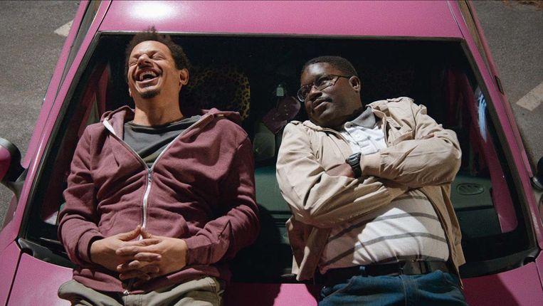 Eric Andre en Lil Rel Howery in 'Bad Trip'. Beeld Netflix