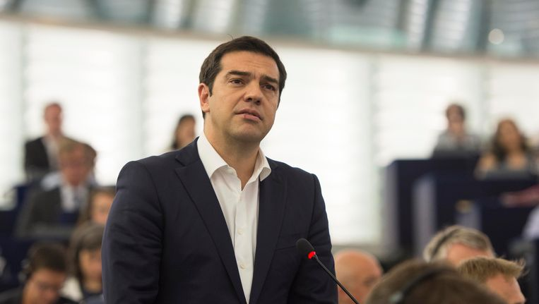 Alexis Tsipras in het Europees parlement. Beeld PHOTO_NEWS