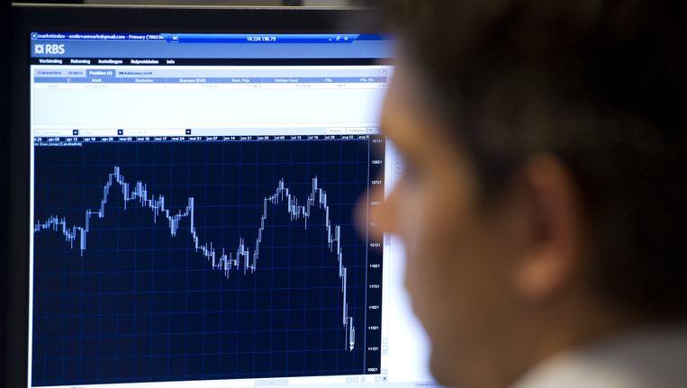 Beurshandelaren op de Amsterdamse beurs houden hun schermen nauwlettend in de gaten na de tegenvallende opening van 1,6 procent in de min. Beeld ANP