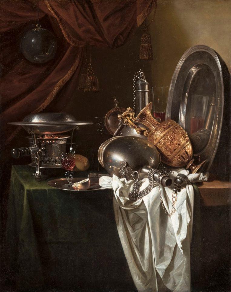 Willem Kalf 'Stilleven met komfoor, veldfles en lampetkan', 1644. Beeld Tefaf