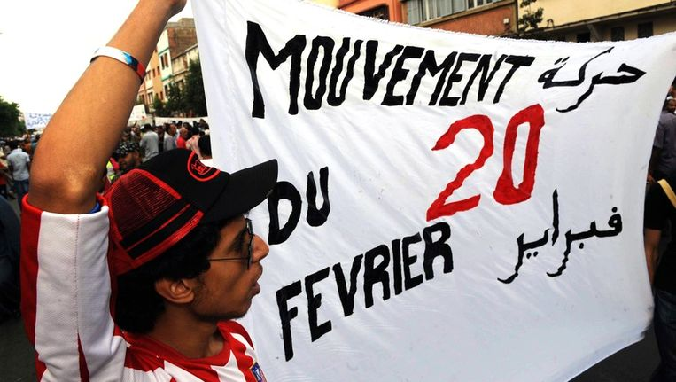 De demonstratie vandaag in Casablanca van de 20 februaribeweging. Beeld afp