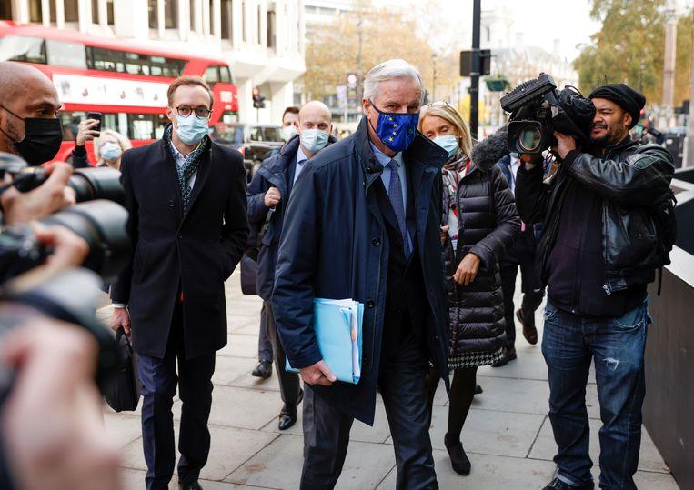 EU-onderhandelaar Michel Barnier wearing in Londen, eerder deze maand.  Beeld REUTERS