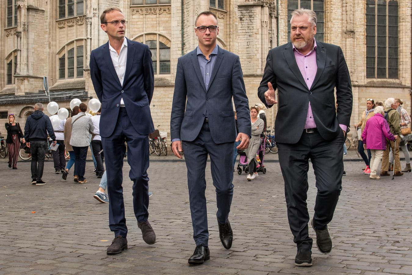 De initiatiefnemers voor de legale wietkwekerij in de Bredase binnenstad. Van links naar rechts: Ronald Roothans, Joep van Meel en Peter Schouten.