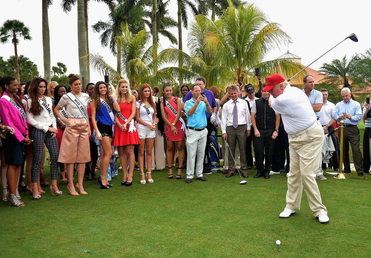 Trump opent het Red Tiger Golf Course op Trump National Doral, 2015. Beeld getty