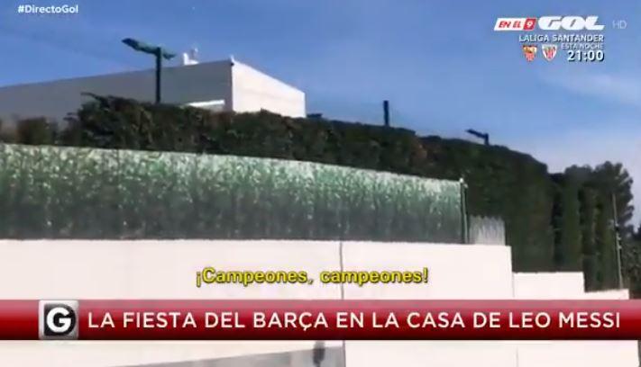 Het huis van Messi, die z'n ploegmaats uitnodigde voor een barbecue.