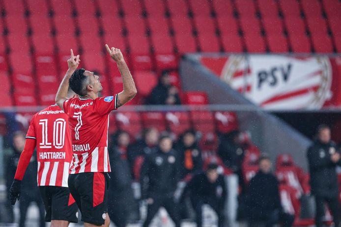 23-01-2021: Voetbal: PSV v RKC Waalwijk: Eindhoven  Eran Zahavi of PSV Eindhoven,Jordan Teze of PSV Eindhoven