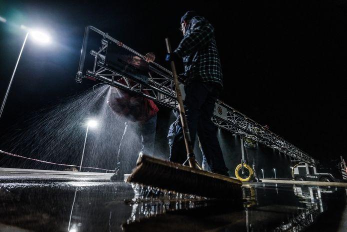 De sproei-installatie van de Winterswijkse ijsbaan