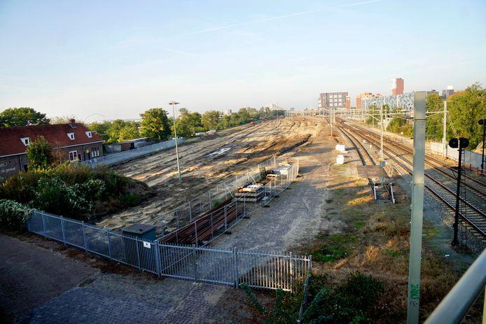Het huidige rangeerterrein bij het Nijmeegse station, gezien vanaf de Graafsebrug.