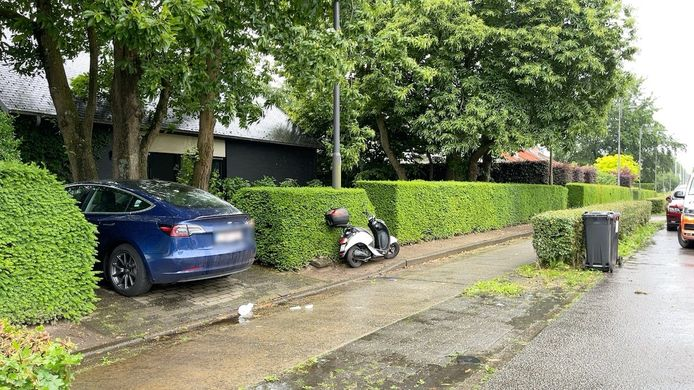 De bromfietsster reed tegen de Tesla van Joachim Coens aan de oprit van zijn huis.