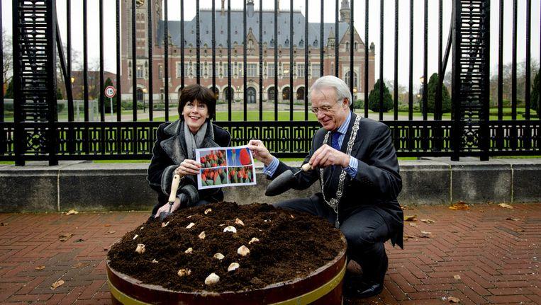 Burgemeester Jozias van Aartsen en secretaris-generaal van het ministerie van Buitenlandse Zaken Renee Jones-Bos planten tulpenbollen voor het Vredespaleis. Voor de grootste top die ooit in Nederland wordt gehouden, de Nuclear Security Summit in maart 2014, is een speciale tulp gekweekt. Beeld anp