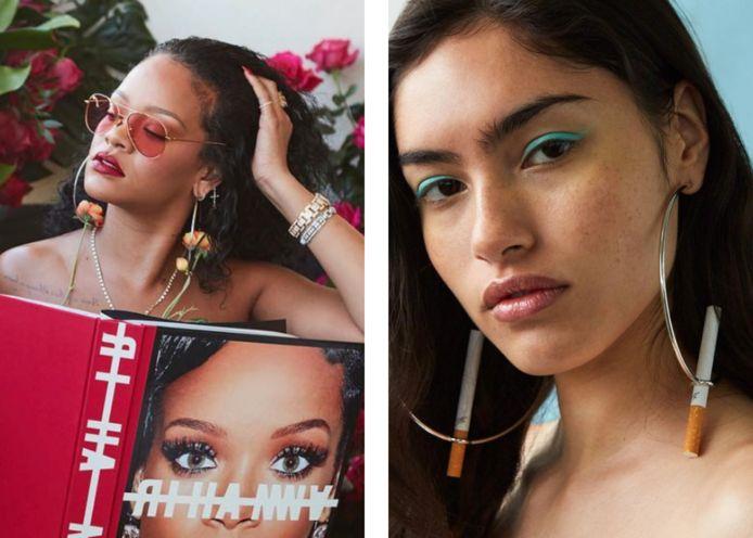Links: Rihanna met de oorbellen van D'heygere. Rechts: de 'Holder Hoops'.
